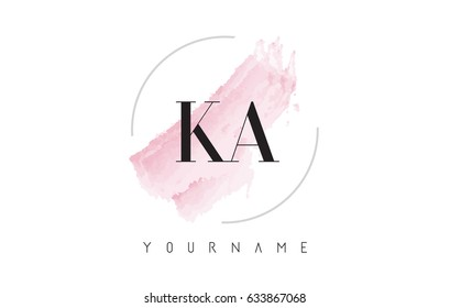 KA K A Watercolor Letter Logo Design with Circular Shape and Pastel Pink Brush.