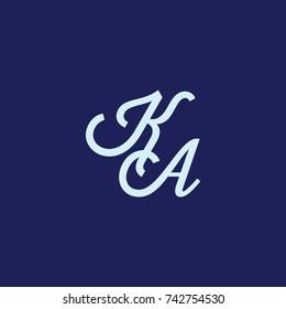 KA Letter creative square background