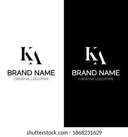 KA logo design letter logotype vector template minimal