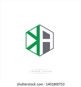 KA Logo Initial Monogram Negative Space Design Template With Dark Green and Grey color