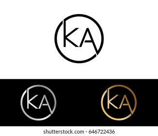 Ka Logo. Letter Design Vector with Red and Black Gold Silver Colors