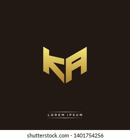KA Logo Letter Initial Logo Designs Templete with Gold and Black Background