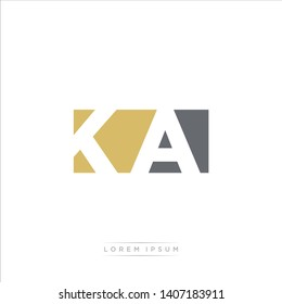 KA Logo Letter with Modern Negative space - Dark Yellow and Grey Color EPS 10