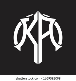 KA Logo monogram with emblem and circle rounded design template