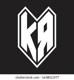 KA Logo monogram with emblem line style isolated on black background