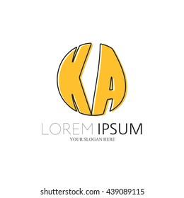 KA Logo. Vector Graphic Sphere Branding Letter Element. White Background