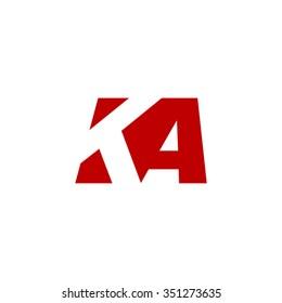 KA negative space letter logo red