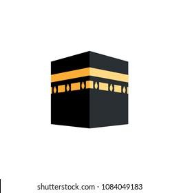Kaaba hajj Mecca pray pilgrimage Ramadan Islam muslim mosque icon vector symbol illustration flat