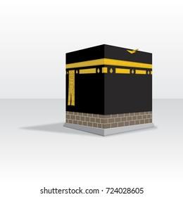 kaaba for hajj in mecca vector drawn