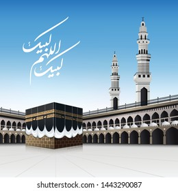 Kaaba for hajj steps in Al-Haram Mosque Mecca Saudi Hajj mabrour arabic calligraphy (May Allah accept your Hajj) - vector illustration  on blue sky - for Eid Adha Mubarak