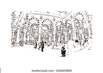 Kaaba in Masjid Al Haram in Mecca Saudi Arabia. Masjidil Haram Mosque in Makkah City, Saudia Arabia during umrah season. Eid Mubarak, Ramadan Kareem. Hand drawn sketch illustration in vector.
