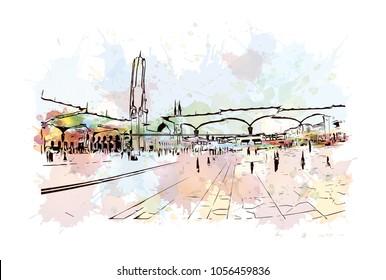 Kaaba in Masjid Al Haram in Mecca Saudi Arabia. Masjidil Haram Mosque in Makkah during umrah season. Eid Mubarak, Ramadan Kareem. Watercolor splash with Hand drawn sketch illustration in vector.