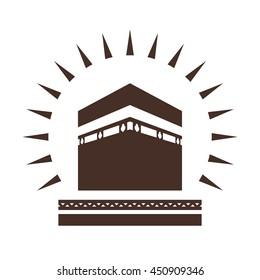 Kaaba in Mecca Saudi Arabia geometric pattern icon for greeting background of Hajj, vector illustration