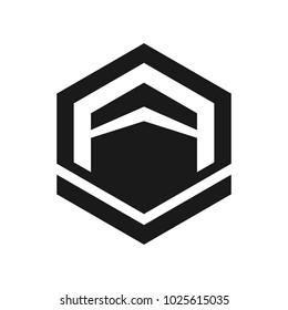 Kaaba Mecca Saudi Arabia vector logo. Cube logo.