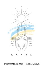 Kaaba, Mecca, Saudi Arabia vector illustration and typography design