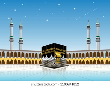 kaaba mosque (holy mecca building moslem, for hajj, fitr, adha, kareem). suitable for card, printing material, gift, banner sticker and other. easy to modify