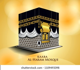 kaaba mosque isolated white. (masjidil haram - holy mecca building moslem, for hajj, fitr, adha, kareem). suitable for card, printing material, gift, banner sticker and other. easy to modify