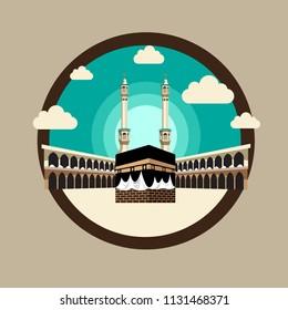 Kaaba vector equipment . islamic, mosque, hajj, eid al adha creative design. for card, banner, poster etc.