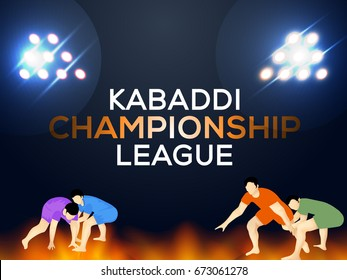 Kabaddi Championship Concept Design,Playing Kabaddi Players,Poster Or Banner Template.
