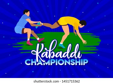 Kabaddi Championship Logo Design, Banner, Poster, Concept, Template, Label, Card, Greeting, Coupon, Icon, Sale, Offer, Web Header, Mnemonic with blue background. Professional Kabaddi Players - Vector