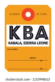 kabala sierra leone airport luggage tag