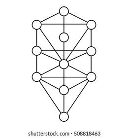 Der Kabbalah Baum des Lebens Vektorsymbol-Design. Illustration einzeln auf weißem Hintergrund. Vereinfachtes Zeichen. Hauptblyph der Qabalisten.