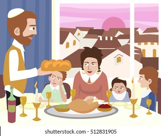 Kabbalat Shabbat, family night meal, colorful vector cartoon
