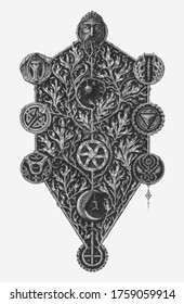 Kabbalistic tree of life. Engraving vector illustration.