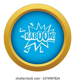 Kaboom, explosion icon blue vector isolated on white background for any design