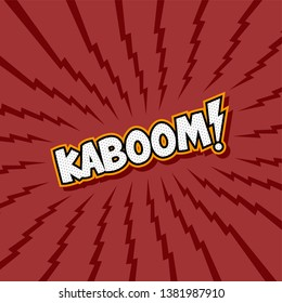 kaboom red thunder theme fight comic book kick punch vector art