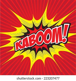 KABOOM! wording in comic speech bubble in pop art style on burst background
