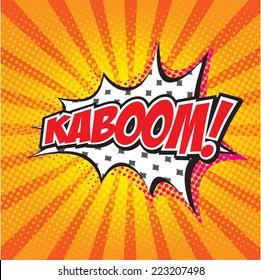 KABOOM! wording in comic speech bubble in pop art style on burst background