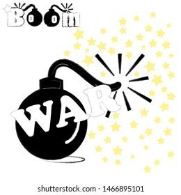 Kaboom.Explosion scene with big bomb with stars.War scene.