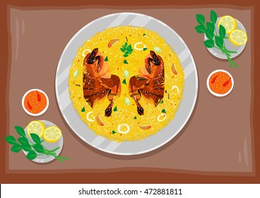 Kabsa Rice Chicken Meat flat lay top view illustration style. Editable Clip Art.