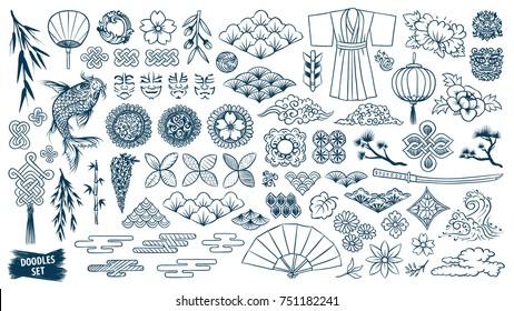 Kabuki. Japanese doodle set. Kabuki theater elements. Kumadori mask. Kimono ornament. Asia culture symbols bundle. Chinese sketches. Asian drawings collection. China. Japan. Oriental vector sketch.