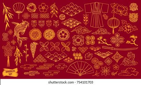 Kabuki. Japanese doodle set. Kabuki theater elements. Kumadori mask. Kimono ornament. Asia culture symbols bundle. Chinise sketches. Asian drawings collection. China. Japan. Vector sketch.