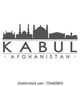 Kabul Afghanistan Skyline Silhouette Design City Vector Art Famous Buildings