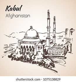 Kabul, capital of Afganistan. Sketch. Kabul, capital of Afganistan. Sketch. Abdul Rahman Khan Mosque. Isolated on white background.