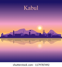 Kabul city silhouette on sunset background vector illustration