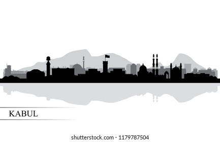 Kabul city skyline silhouette background, vector illustration