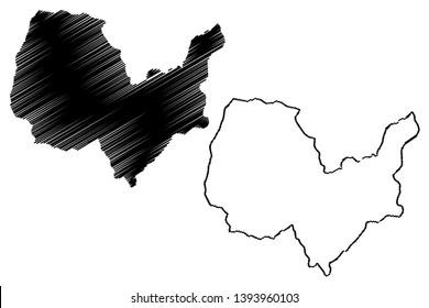 Kabul Province (Islamic Republic of Afghanistan, Provinces of Afghanistan) map vector illustration, scribble sketch Kabul map
