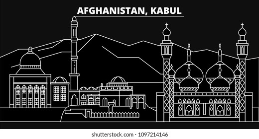 Kabul silhouette skyline. Afghanistan - Kabul vector city, afghan linear architecture, buildings. Kabul travel illustration, outline landmarks. Afghanistan flat icons, afghan line banner