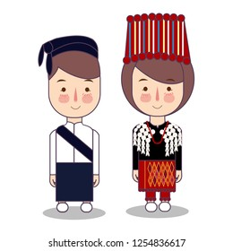 Kachin Myanmar traditional national clothes south east asia. Set of cartoon characters in traditional costume. Cute people. Vector flat illustrations.