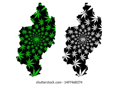 Kachin State (Administrative divisions of Myanmar, Republic of the Union of Myanmar, Burma) map is designed cannabis leaf green and black, Kachin map made of marijuana (marihuana,THC) foliage
