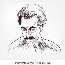 Kahlil Gibran vector sketch portrait isolated