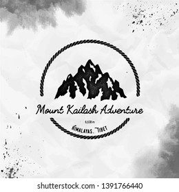 Kailash logo. Round hiking black vector insignia. Kailash in Himalayas, Tibet outdoor adventure illustration. Climbing, trekking, hiking, mountaineering and other extreme activities logo template.