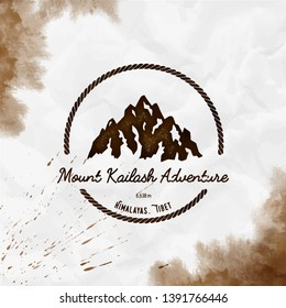 Kailash logo. Round hiking sepia vector insignia. Kailash in Himalayas, Tibet outdoor adventure illustration. Climbing, trekking, hiking, mountaineering and other extreme activities logo template.