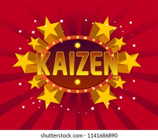 kaizen beautiful greeting card background or banner with star party theme.  design illustration