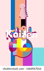 kaizen, beautiful greeting card background or banner with colorful music theme. design vector illustration