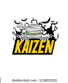 Kaizen has mean japanese event, beautiful greeting card or label with mummy illustratition for halloween theme, vector background, poster or banner
